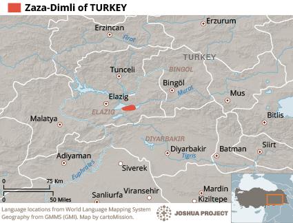Карта ЗАЗА-ДИМЛИ в Турции