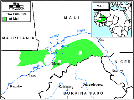 Карта Фулани, маасины в Мали