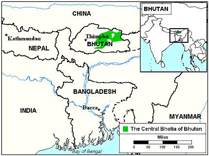 Карта Бумсангпы в Бутане