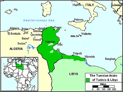 Карта АРАБЫ, тунисцы в Тунисе