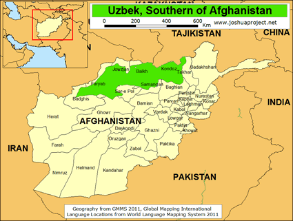 Карта Узбеки, южный Афганистан